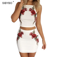 Summer Dress 2017 Sexy Elegant Floral Embroidery Sexy Crop Top Two Piece Set White Beach Mini