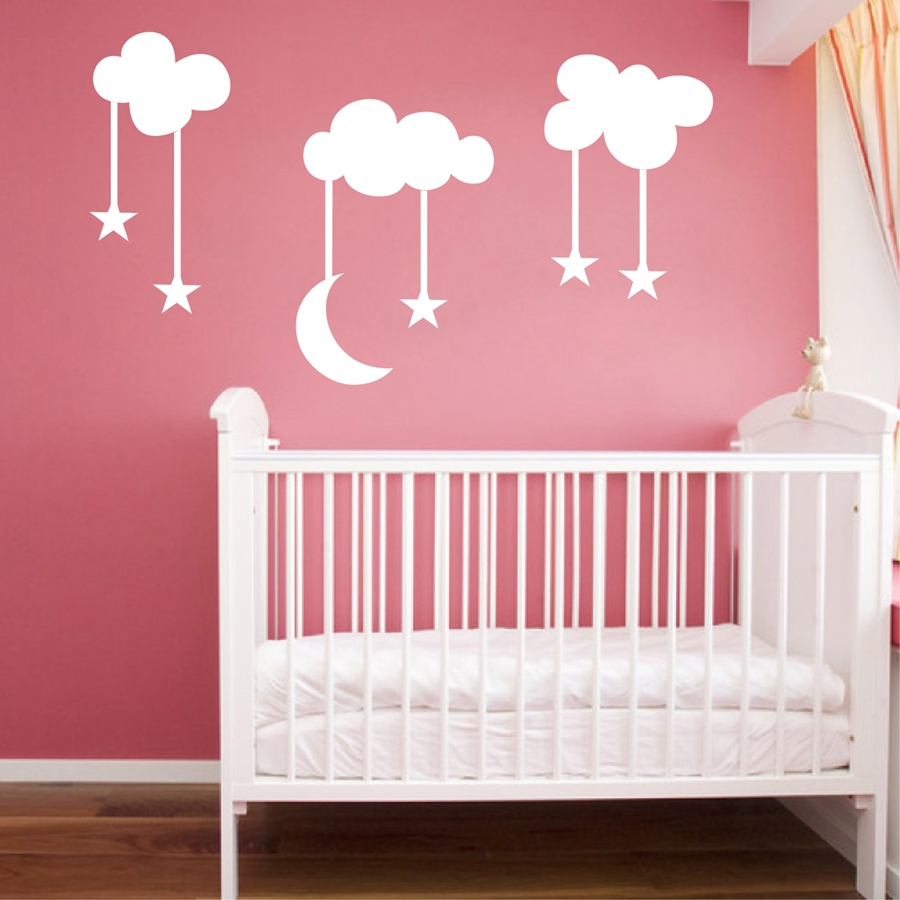 10 74 30 De Réduction Grande Taille 220x140 Cm Lune étoiles Nuages Vinyle Stickers  Muraux Chambre Bébé Enfants Chambre Mignon Dessin Animé