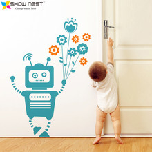 Robot Holding Flowers Wall Stickers Home Decor - Kids Room Wall Decals Mural - Nursery Bedroom Wall Decal - Size 68 x 100 cm