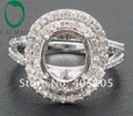 Nueva Llegada 7x9mm Oval Cut 18ct Oro Blanco Diamante Natural Semi Montaje Anillos de Compromiso Envío Gratis