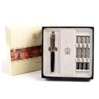 Duke High grade Gift Set Luxury Black and Gold Roller Ball Pen with Blue Gem Metal Ballpoint Pens Christmas Gift Free Shipping