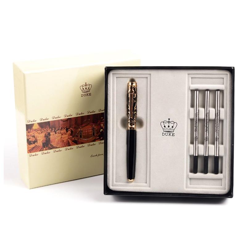 Duke High-grade Gift Set Luxury Black and Gold Roller Ball Pen with Blue Gem Metal Ballpoint Pens Christmas Gift Free Shipping
