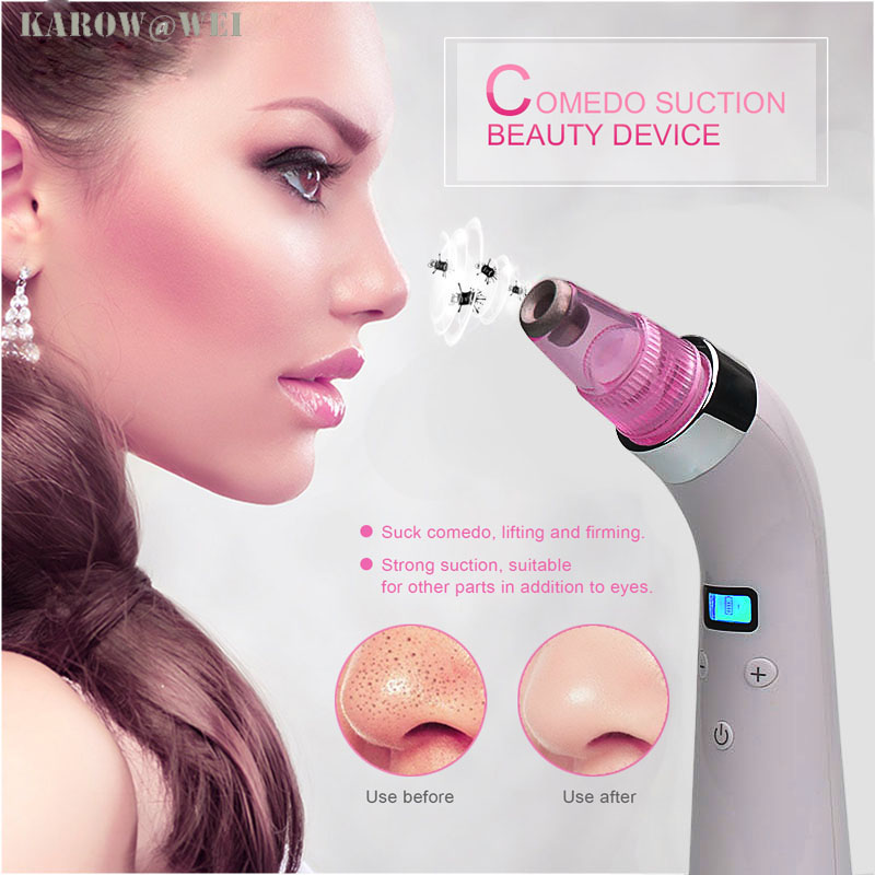 Lcd display Facial pore vacuum blackhead and comedone remover machine acne extractor cleanser skin peeling diamond dermabrasion high quality precision skin analyzer digital lcd display facial body skin moisture oil tester meter analysis face care tool
