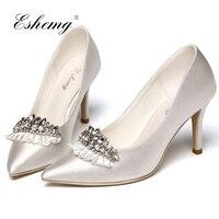 Eshemg/обувь с украшением в виде кристаллов, коллекция 2018 года, пикантные свадебные туфли для невесты, элегантные шелковые вечерние туфли лодо