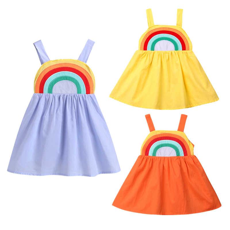 Summer 2019 Princess Baby GirlS Dress Cute Rainbow Sling Wedding Party Dresses For Girls Toddler Cotton Beach Sundress Outfits
