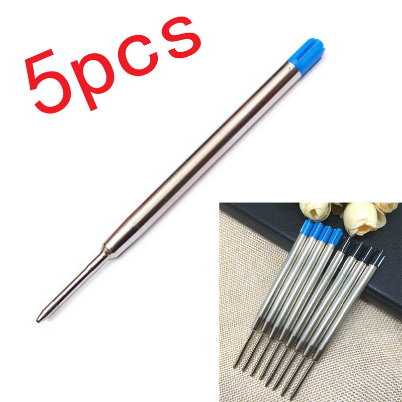 5Pcs/lot Metal Cartridge Ball Point Pen Refills Black/Blue Ink For Self-Defense Tactical Pen Self Defense Supplies  Accessories