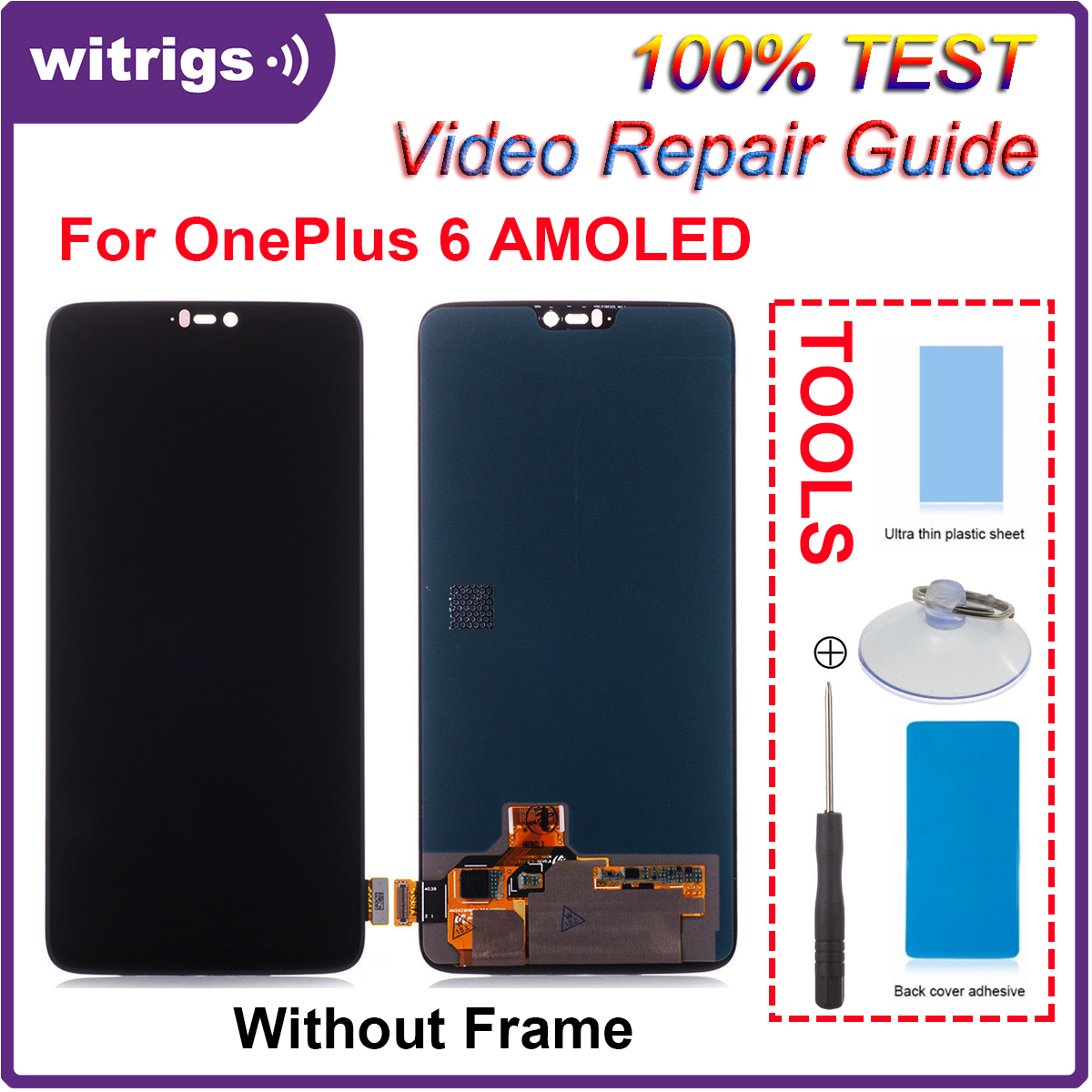 WITRIGS For OnePlus 6 LCD Display Touch Screen Digitizer with Frame Panel Assembly Replacement For oneplus6