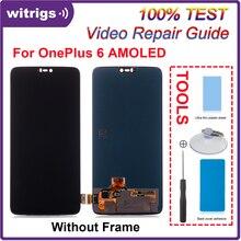 WITRIGS pour oneplus 6 LCD écran tactile numériseur avec remplacement de lassemblage du panneau de cadre pour oneplus 6
