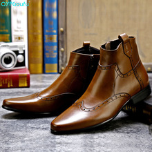 Vintage Pointed Toe Genuine Cow Leather Brogue Men Ankle Boots Luxury Zipper Dress Brand Male Fashion