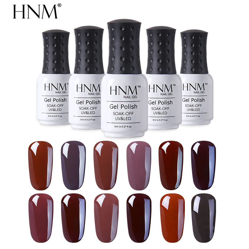 HNM Coffee Brown Color Winter 8ML Stamping Gel Polish Primer Top Base Semi Permanent Hybrid Varnish Enamel Lucky Lacquer
