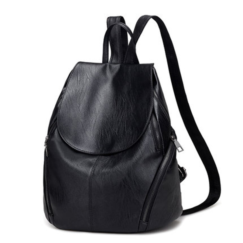 2020 Casual Women Backpack Female PU Leather Backpacks Black Bagpack Bags For College Students Girls Young Lady Travel Back Pack