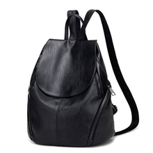 Casual Women Backpack Female PU Leather Backpacks Black Bagpack Bags For College Students Girls Young Lady Travel back pack