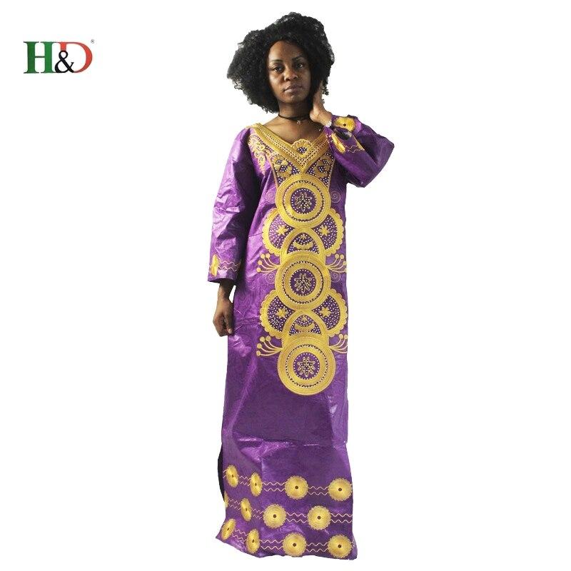 H&D modni vez Afrički ženska haljina Bazin Riche 100% pamuk dugi - Nacionalna odjeća - Foto 5