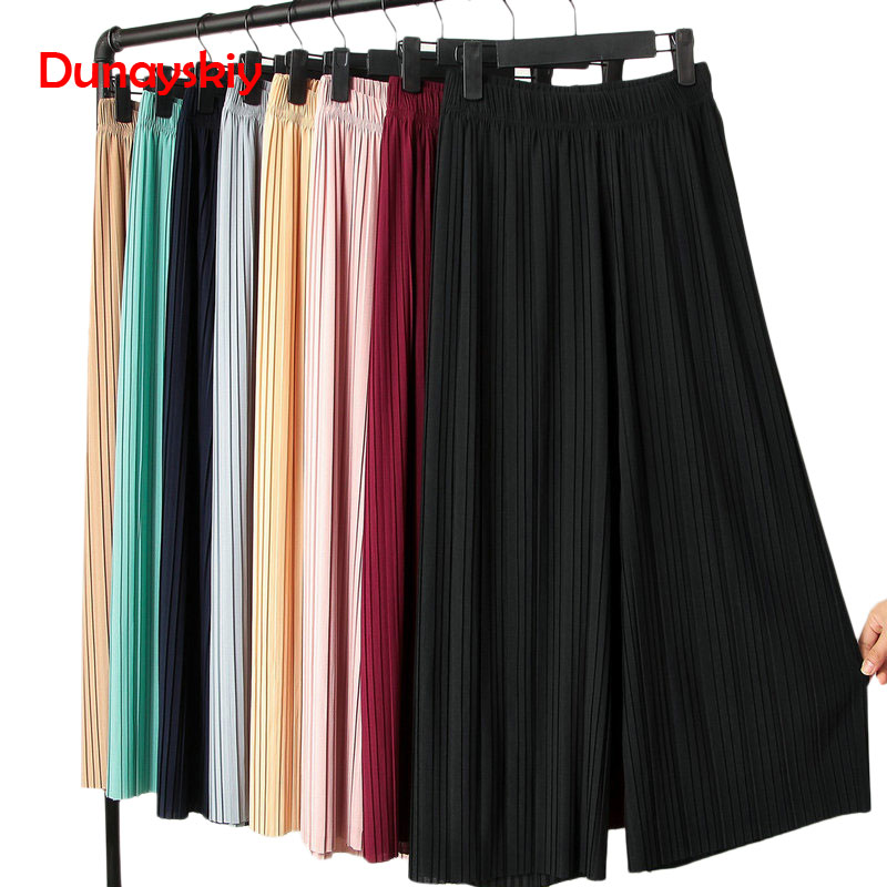 Pant   Pleated Chiffon   Wide     Leg     Pants   Female Summer 2019 New Korean Version Of Nine High Waist Loose Loose Mm   Pants