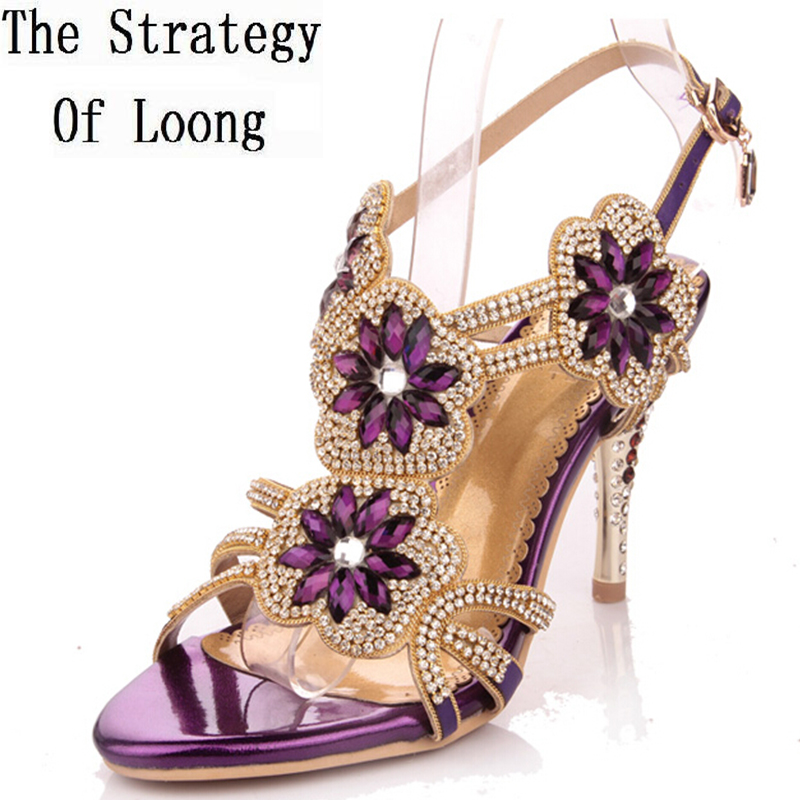 2017 genuine leather high-heeled  flower crystal open the toe sandals sexy rhinestone sheepskin diamond women shoes the new type of diamond mother sandals lady leather fish mouth flowers with leather high heeled shoes slippers women shoes