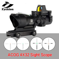 Tactical Airsoft ACOG 4X32 Sight Scope Real Red Green Fiber Source Illuminated Rifle Scope w/ RMR Micro Red Dot