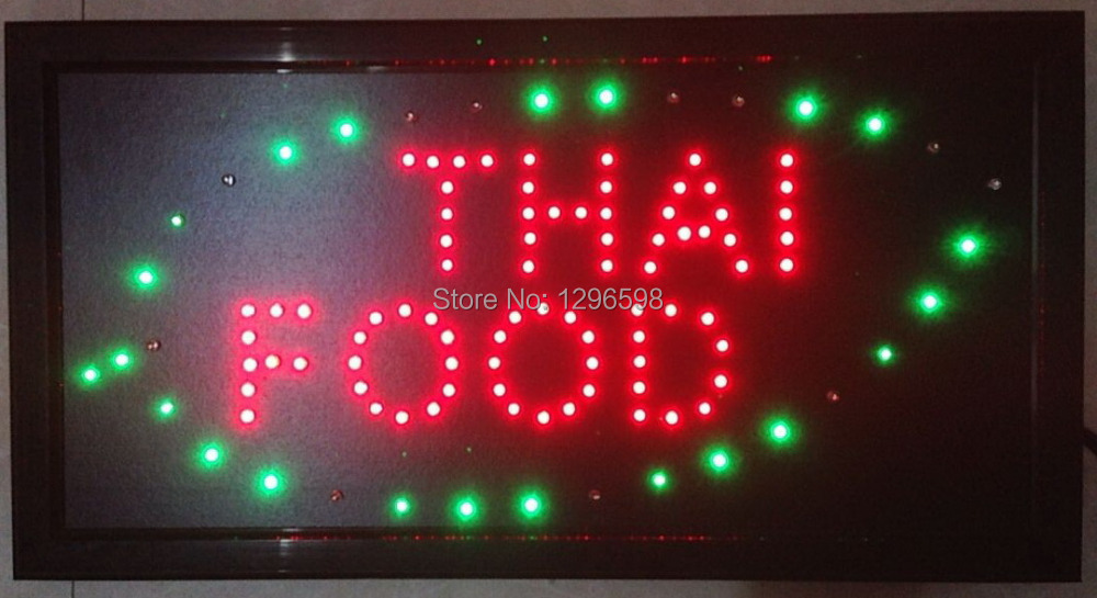 2017 Direct Selling custom Graphics indoor running 10X19 inch thai food business store led sign