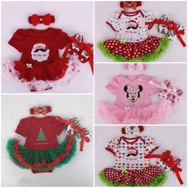 2017 Новый Год Рождество Детские Младенческой Комплектов Одежды Новорожденного Девушки Ели Дед Мороз 3 шт. Наряды Romper Dress + Оголовье + обувь