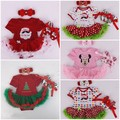 2017 New Year Christmas Baby Infant Clothing Sets Newborn Girl Fir Santa Clause 3pcs Outfits Romper Dress+Headband+Shoes
