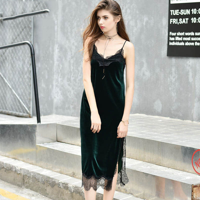 MOARCHO Sexy Black Lace Velvet Cami Dress Slip Backless Spaghetti Strap Long Evening Party Robe Side Split 2017 Velour Dresses