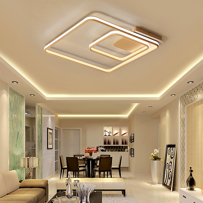 NEO Gleam Square Double Glow Living Room Bedroom Led Chandelier High Brightness Aluminum Modern Led Ceiling Chandeliers Fixtures цена
