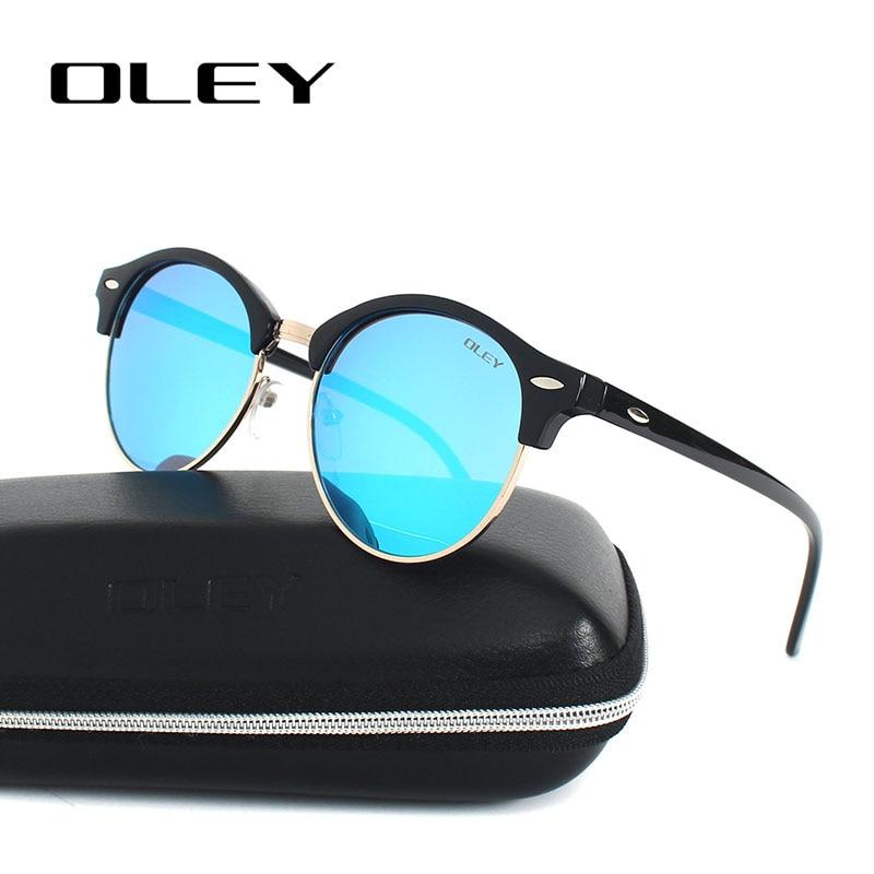OLEY Fashion Round Sunglasses Women polarized cat eye Sun Glasses Vintage Men Goggles Blue Coating oculos de sol feminina Y3135