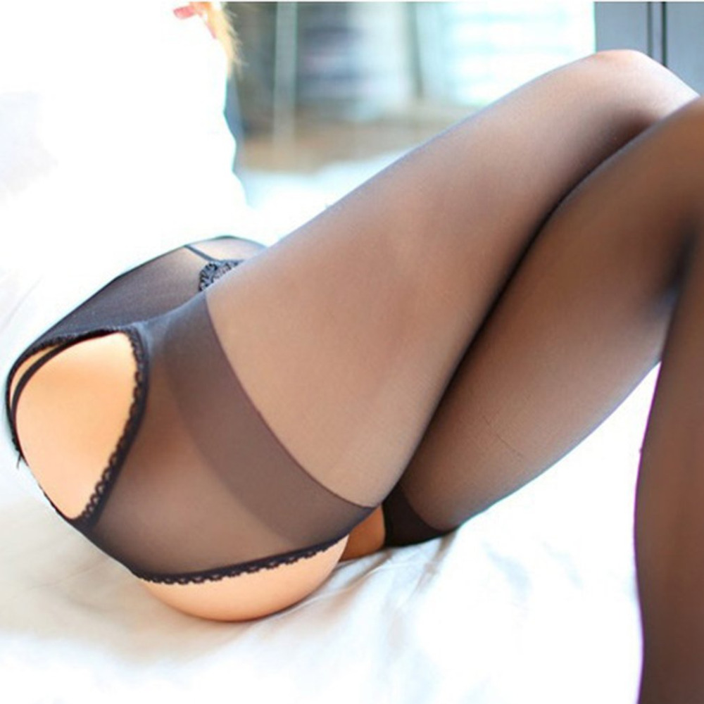 Female Erotic Stocking Four Sides Open Crotch Ladies Elastic Black Hosiery Sexy Women Seamless Crotchless Temptation Pantyhose