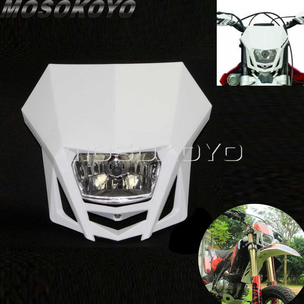 Motocross White Dirt Bike Racing Enduro Headlight Off-Road Head Lights for Kawasaki KLX 150 Yamaha WR250 Honda CRF 450 KTM