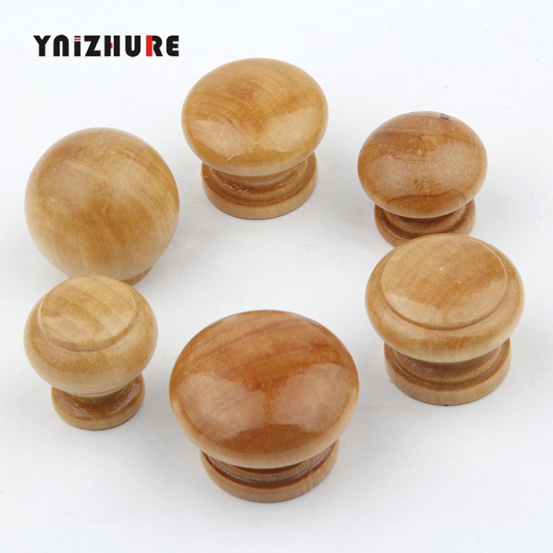 YNIZHURE Logism Environmentally Friendly Natural Wood Cabinet Drawer Pull Handles With Screws Wardrobe Door Knobs