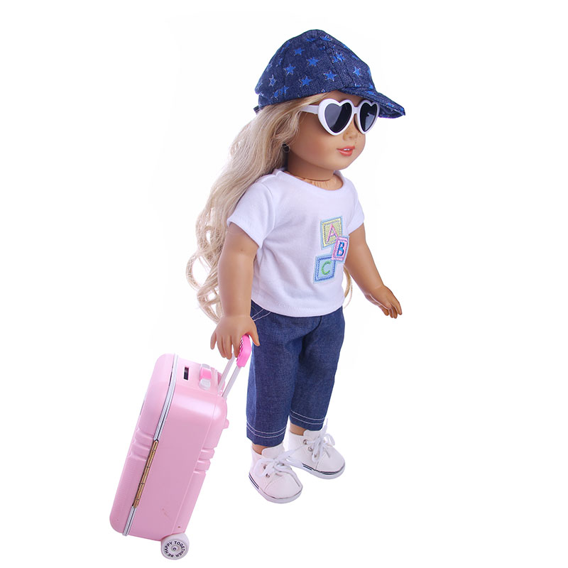 Travel Set Suitcase Pink Suitcase For 18 inch American Girl Doll,our generation of dolls,the best Christmas gift(only Suitcase) цены онлайн