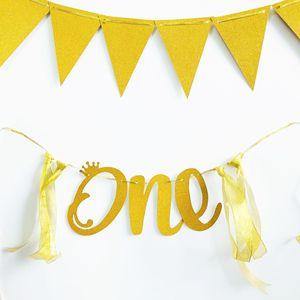 Image 4 - תינוק 1st יום הולדת ילד ילדה כוכב זהב 12 חודש תמונה באנר אני אחד תא צילום באנר הראשונה שלי קישוטים למסיבת ילדים