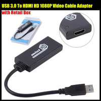 USB 3.0 ל HDMI MINI HD 1080 P וידאו כבל מתאם ממיר למחשב למחשב נייד עבור Windows 7 & 8, עם חבילה הקמעונאי