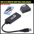 USB 3.0 To HDMI MINI HD 1080P Video Cable Adapter Converter For PC For Laptop for Windows 7 & 8, with Retail Package