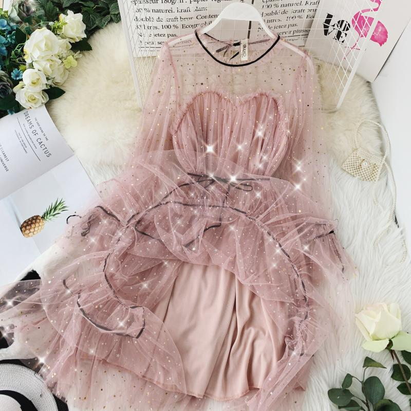 HISUMA spring autumn new women Star sequins gauze flare sleeve lace-up Princess dress female elegant o-neck mesh puff dresses 24