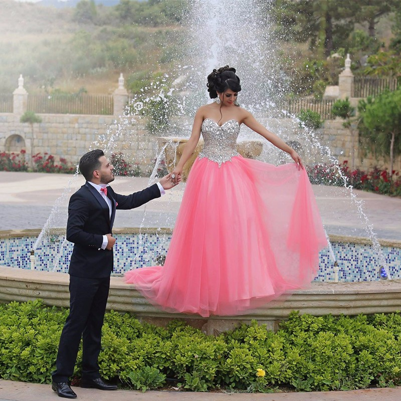 Glitter Hot Pink Prom Dress with Stones Chinese Evening Dresses Long ...