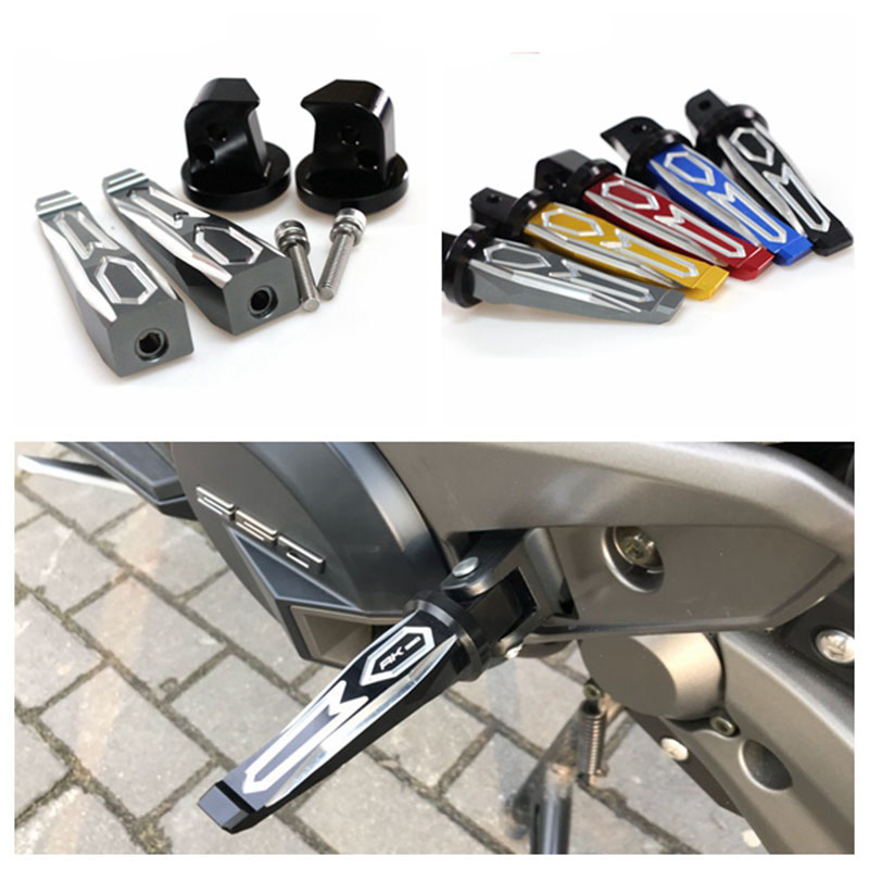 цена на Motorcycle Left and right CNC Aluminum rear passenger Foot Pegs pedals For KYMCO AK550 AK 550 2017