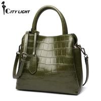 Natural Cowhide Women Handbag Fashion Alligator Bag High Quality Genuine Leather Ladies Tote Bag Messenger Bags