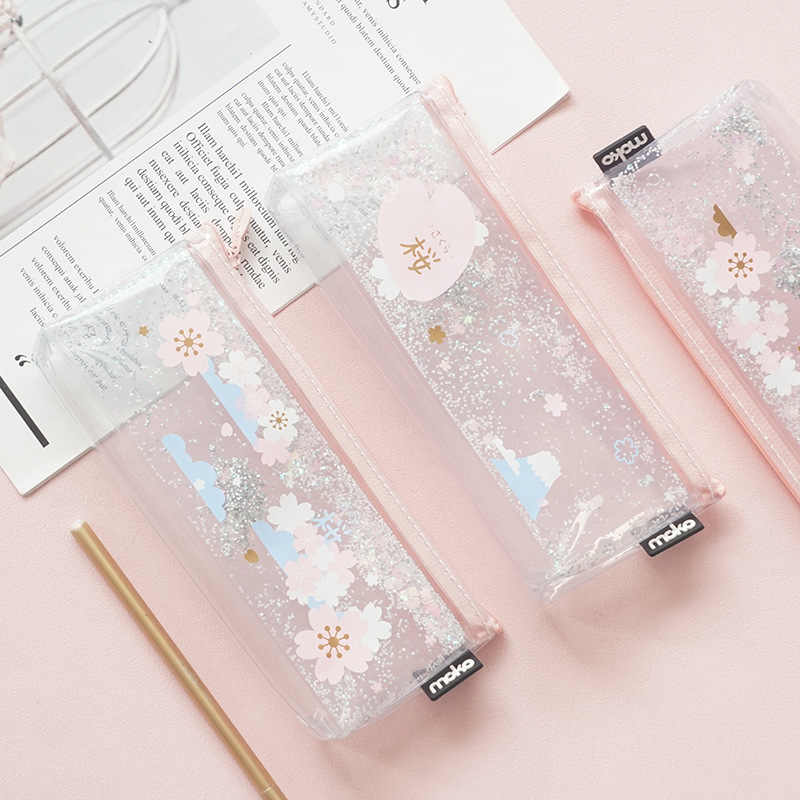 1 Pcs Kawaii Pencil Case Cherry blossoms into oil Estuches School Pencil Box Pencilcase Pencil Bag School Supplies Stationery