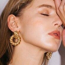 AENSOA, золотые, серебряные, нестандартные металлические круглые Висячие серьги для женщин, винтажные Панк ювелирные изделия, макси, круглые массивные серьги