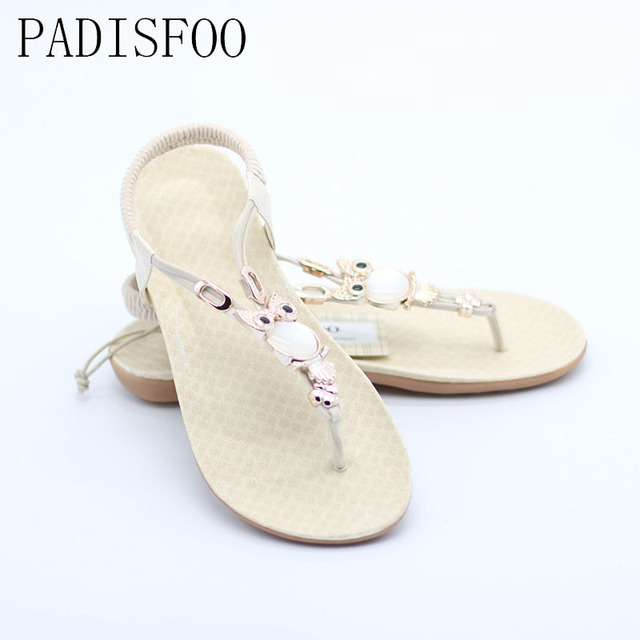 2017 Women Fashion casual Beaded Flops Summer  Bohemian design vintage flat-toed sandals with Rubber sole For Beach .HYKL-199
