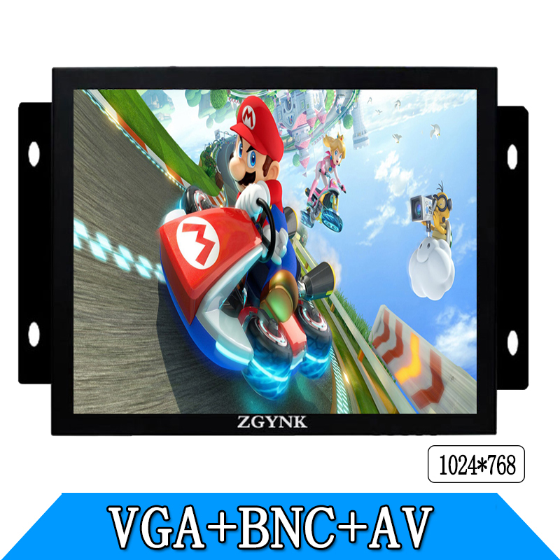ZGYNK 8 inch Open Frame Industrial monitor metal monitor with VGA AV BNC monitor