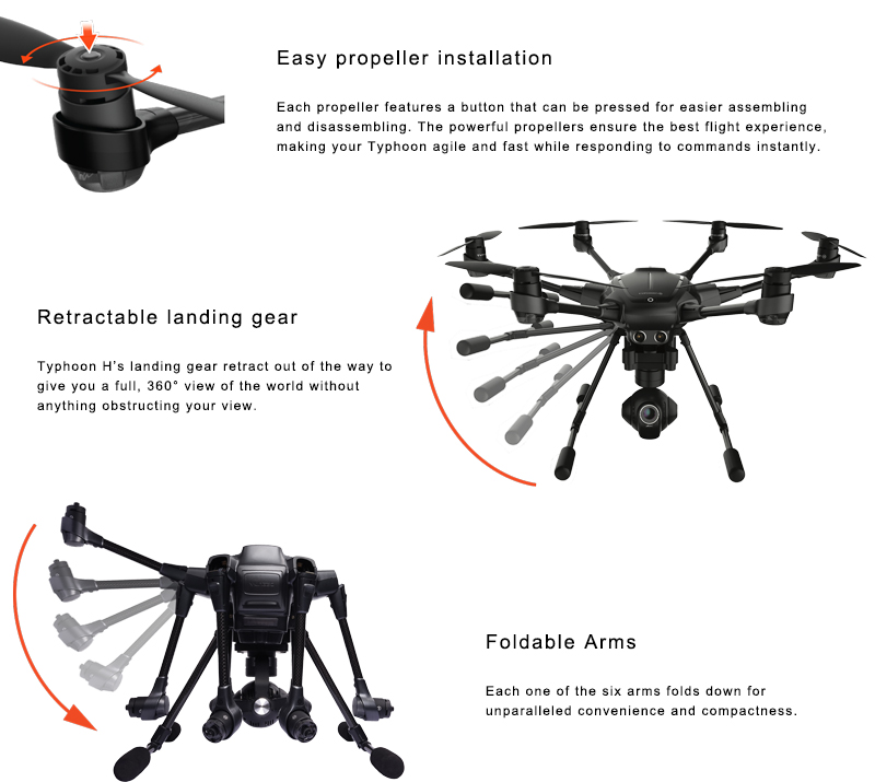 Original Yuneec Typhoon H 480 PRO Drone with Camera HD 4K RC Quadcopter RTF 3-Axis 360 Gimbal vs DJI Inspire 2 MavicPro In Stock