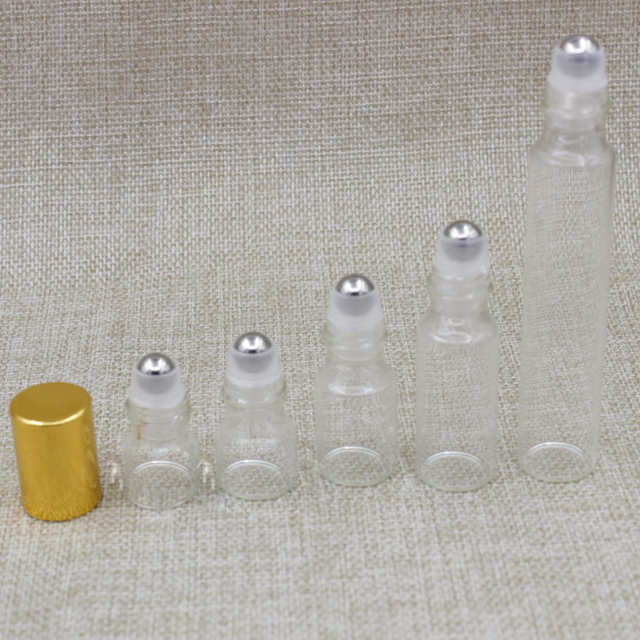 76f9988ab289 US $48.99 |1ml,2ml,3ml,5ml,10ml Glass Roller Bottles,Metal bead Empty Clear  Roll on Bottle for Essential Oil Mini Sample Vial Cosmetic Pack-in ...