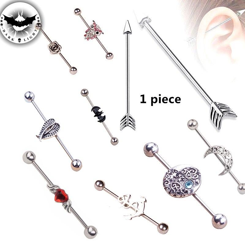Dark Light 1Piece316L Stainless Steel Industrial Bar Scaffold Piercing Earring Barbell Ring Anchor Bat Earring 1.6*38*6*mm