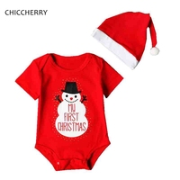 Red My First Christmas Gift Baby Boy Clothes Snowman Kids Jumpsuit Cap Two Piece Set Infant