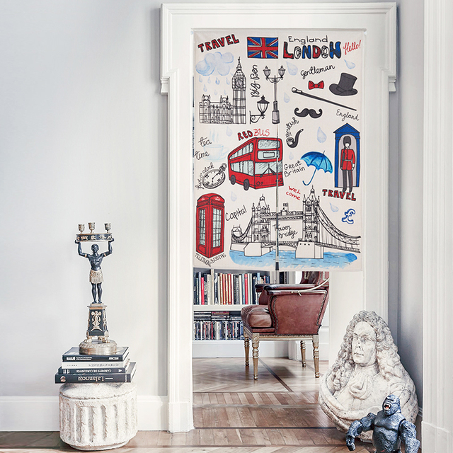 England Home Decor Cartoon Bear Bus People Scenic Pattern 91413 Door  Curtain Thick Linen Tapestry Study