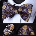 Bzf01y фиолетовый желтый цветочные мужчины шелковый самостоятельная галстук-бабочку платок запонки комплект