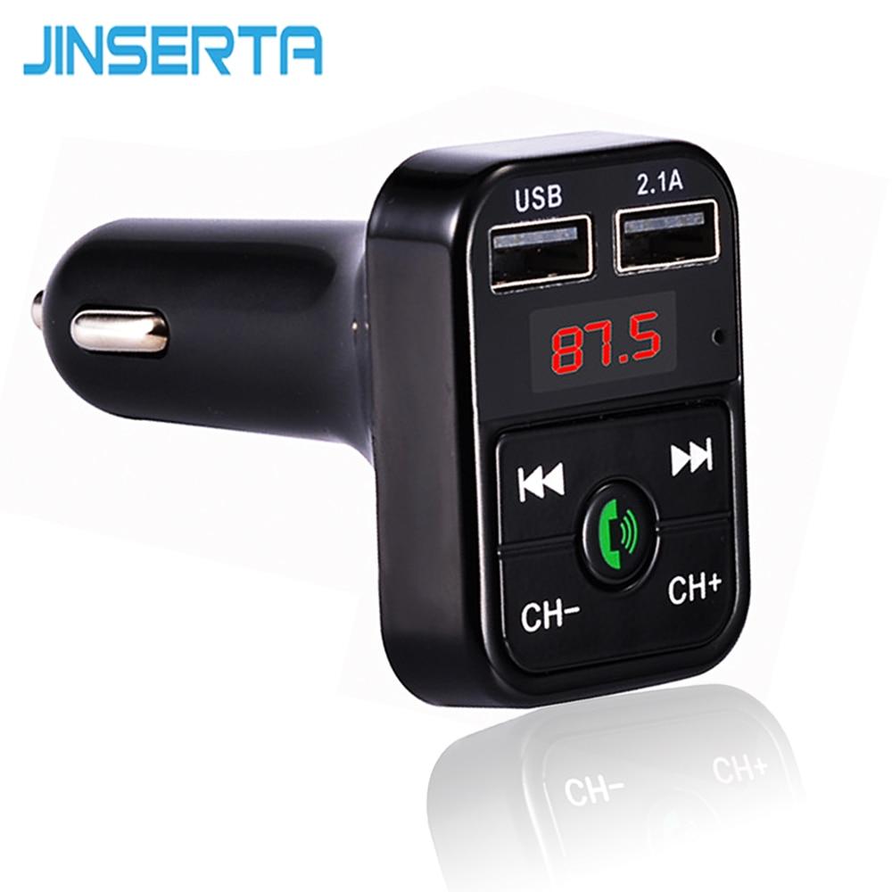 JINSERTA Car Styling Bluetooth FM Transmitter FM Modulator Hands Free Car Kit MP3 Player TF USB flash music Car Accessories