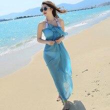 New solid color beach towel sexy multi-purpose wrap scarf travel sunscreen shawl scarf female wome s unique rural stylethin chiffon shawl scarf sapphire blue multi color