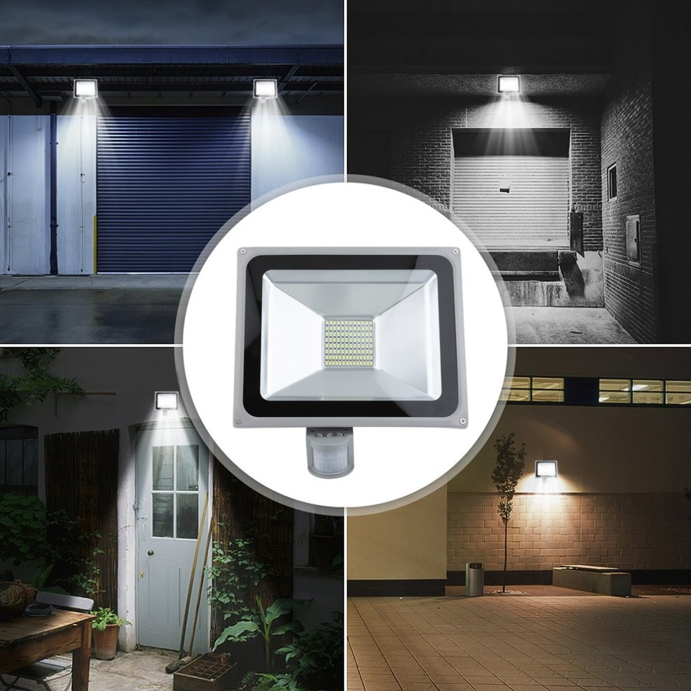 50W LED Outdoor Landscape Garden Induction Floodlight SMD IP65 Waterproof Security Motion Sensor Lamp Replacement Light
